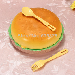 Wholesale Plastic Dinnerware Set Lunch Bowel Hamburger Lunch Box Food Container Round Style Free Shippment
