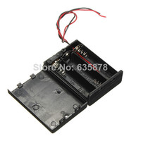 Cheap Free shipping Black Plastic Battery Case Box Slot Holder with ON OFF Power Switch Wire Leads for 4 x 1.5V AA