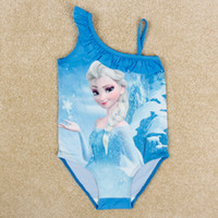 Wholesale girls frozen swimsuit kids hot cartoon Elsa swimwear one piece nova fashion blue baby swimwear in stock R5252