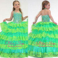 Reference Images toddler pageant dresses - 2014 Toddler pageant dresses Green Organza Halter Ruffles Sequins Beads Lace Cascading Ruffle Glitz Flower Girl Ball Gown Hot Selling PA1509