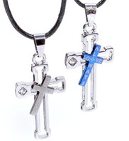 Wholesale New Men s Women s Couple Lovers Stainless Steel Hollow out a double cross Necklaces amp Pendants P22