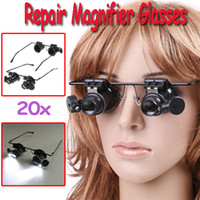 Repair Magnifier battery watch repair - 20X Watch Repair Glasses Style Magnifier Loupe With BATTERY Dropshipping H8129