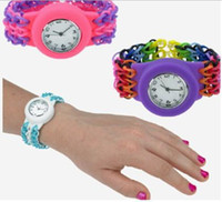 Fashion Children's Not Specified Best Colourful DIY Super funny Rainbow Silicone loom bands kits Loom watch Bracelets(Rubber bands+Two hook+ S clips+watch) Free Shipping