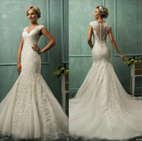 Trumpet/Mermaid Reference Images V-Neck 2014 new Amelia Sposa v neck cap sleeve lace tulle mermaid wedding gowns appliques fit flare sheer backless charming bridal wedding dresses