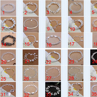 Wholesale 36PCS Mix Order Sterling Silver Plated Fashion Bracelets Jewelry MB007