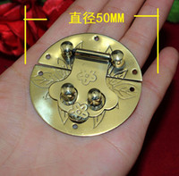Wholesale 5CM round mahogany furniture Box buckle wooden crates copper buckle clasp
