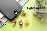 Wholesale Lightning cap cartoon animal head home button cover with USB anti dust plug for iphone5 iphone4 s