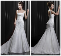 Wholesale 2014 Sexy Spaghetti Mermaid Wedding Dresses Lace Applique Sweep Train Organza Ruched Wedding Gowns Custom Bridal Dresses White Ivory Red hot