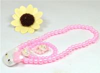Wholesale Hot Children Girls Cute Cartoon Kiti Cat Jewelry Suit set Kiti Cat Pearl Neckless Bracelets Ring White Pink M0336
