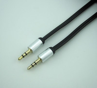 Cable 3.5mm  Free Shipping New 3.5mm male to male Stereo AUX audio cables Car Extension audio Cable for cell phones computer MP3 DVD CD player TV Gold