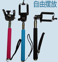 Wholesale FREE DHL Fedex Extendable Handheld Monopod Selfie Stick Tripod Phone Camera Self Portrait Clip Holder for iPhone Cellphone Smartphone