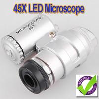 45X 2 LED Mini lupa del joyero de la lupa del microscopio del bolsillo, 5pcs / lot,, dropshipping H1837 al por mayor