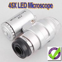 mini microscope - 45X LED Mini Pocket Microscope Magnifier Jeweler Loupe dropshipping H1837