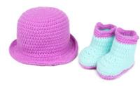 Spring / Autumn shoes hats caps - Beanie Hat shoes Set Baby Costume Photo Photography Prop Knit Crochet cap