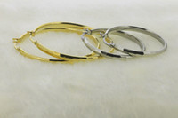 Wholesale Gold filled stainless steel large hoop earring gold and steel color