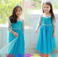 New Frozen Princess Elsa Half Sleeve Dress Girls Summer Dres...