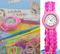 Wholesale Loom Watch DIY Knitting Braided loom Watch Rainbow Kit Rubber Loom Bands Self made Silicone Bracelet Watch Rubber Clip Hook Stock