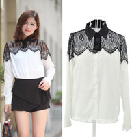 Long Sleeve Cotton lace Plus size Women Blouses xl xxl xxxl women clothing Sexy Lady Chiffon Black Lace blouses chiffon New 2014 summer tops for woman