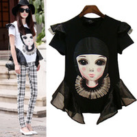 Cheap women t-shirt for big plus size women clothing new 2014 summer brand woman clothes punk black white character xxxl cool tops for women