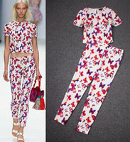Wholesale 2014 Hot Sell New Arrival Europe Summer Women Printing Bow Sweet Ladies Casual Sets Short Sleeve Round Neck Tshirt Pants suit E0220