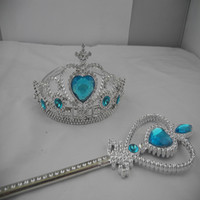 Wholesale 2014 Children Girls Cartoon Frozen Ornament Anna Elsa cosplay Crown Tiaras Children Party Accessories Magic Wand sticks Rhinestone Crown