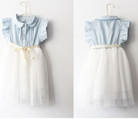 TuTu Summer A-Line Korean Sweety Girls Dress Butterfly Bowknot Ribbon Denim Puff Sleeve Doll Neck Dots Gauze Veil Tulle Tutu Dresses Sweet Kid's Clothing F0354