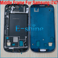 Wholesale Silver and Blue Middle Frame Cover Housing Front Bezel Chassis for Samsung Galaxy S3 S AT amp T i747 T999 With Side Home Button