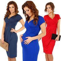 Wholesale New Fashion Elegant Celebrity V neck Short Sleeve Knee length Cotton Casual Bodycon Women Dresses Pregnancy