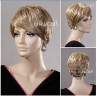 Blonde Straight as picture  In Stock 2014 Fashion Natural Straight Highlight Blonde Short Wigs With Bangs Side Part Cheap Synthetic Hair Wigs For Women