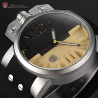 Wholesale Shark Stainless Steel Case Black Yellow Dial Big Face Watch Male Luminous Rubber Strap Men Sport Quartz Wristwatch SH170