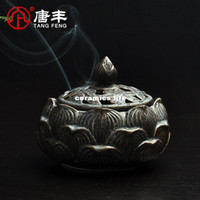 Wholesale Tang Feng rust antique glazed ceramic lotus incense censer home plate savory sandalwood tower insert TF