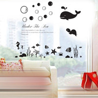 Wholesale Removable art Wall Stickers Waterproof PVC decoration Sea world Marine bathroom glass ceramic tile Wall Decals x70cm