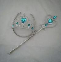Wholesale Hot Children Girls Cartoon Frozen Ornament Anna Elsa cosplay Crown Tiaras Children Party Accessories Magic Wand sticks Rhinestone Crown