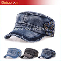 Wholesale Fashion Men and Women Denim Cap Sunhat Revit Denim Unisex Flat top Cap Adjustable Military Hats colors
