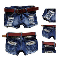 Wholesale S5Q Retro Vintage Women Girl Low Waist Tassel Hole Jeans Denim Shorts Pants Blue AAADNG