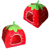 Wholesale New Lovely Soft Super Cool Sponge Strawberry Pet Cat Dog House Bed Size