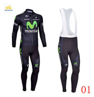 Wholesale 2014 Movistar Cycling Jersey Set long Sleeve With Padded trousers High Elastic Spandex Road Bicycle Clothing XS XL Men Cycling Wear