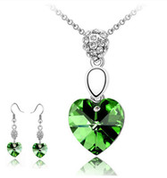 Earrings & Necklace Crystal Alloy Wholesale - Austrian heart crystal jewelry 925 sterling silver jewelry set with diamonds necklace and a pair of earrings Swarovski Crystal