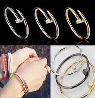 Fashion brand 316L titanium steel CZ stones Nail bangle brac...