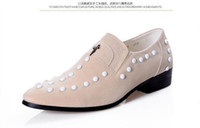 white rice - 2014 New Britpop pointed Wedding shoe Rice white Leather shoes rivets men s casual shoes ENPX2