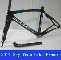 Wholesale 2014 Sky Team Pinarello Full Carbon Road Bike Frame Dogma Think BB30 or BB68 Fork Seatpost Road Bike Frameset k Carbon Wave