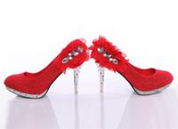 Women Pumps Stiletto Heel Hot New High Heels Red Flower Hand Design Top White Diamond Evening Prom Accessories
