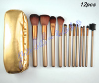 Goat Hair hair packaging - HOT NEW Makeup Brushes Nude piece Professional Brush sets Gold package gift
