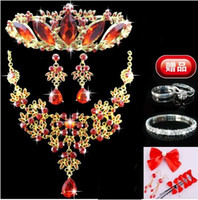 best cheap ornaments - Best Selling Chinoiserie Red Crystal Tiaras Necklace And Earrings Shining Cheap Wedding Accessories Bridal Ornaments Jewelry DL1312810