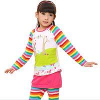 Girl Spring / Autumn Long Sample Order One Piece Girls Cartoon T-shirt Cute Flower Pattern Long Sleeve Tees Children Kids T Shirt Clothing L30816