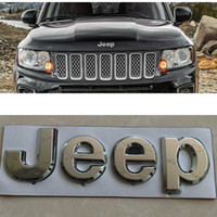 Wholesale 2x D CHROME JEEP GRAND HOOD logo Badge Emblem WRANGLER COMMANDER GRAND CHEROKEE COMANCHE CHROME CAR Sticker Decals