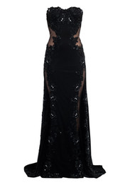 Wholesale Black Jersey Strapless Maxi Dress With Sheer Mesh Side Panels And Applique Lace And Beading Detail Evening Cocktail Party Dress