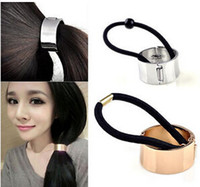 Wholesale European Metal Circle Hair Tie Holder Ring Cuff PonyTail Elastic Rope Band Hair HP23