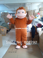 Wholesale New Style Curious George Monkey Mascot Costumes Cartoon Fancy Dress Halloween Party Costume Adult Size