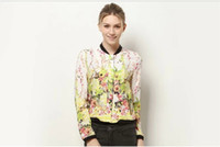 Wholesale New Arrival Fashion Women s Euro Coats Slim Stand Collar Floral Print Chiffon Bomber Jackets